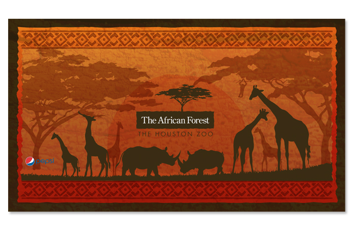 African Forest promotional cup design for the Houston Zoo. Designed by Nicte Creative Design.