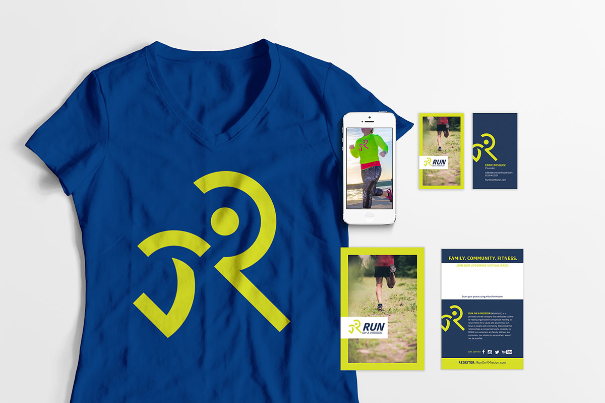 Run on a Mission, virtual run, running logo, athletic branding, fitness logo, fitness branding, fitness apparel