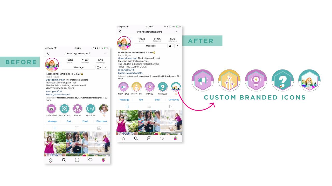 Instagram Highlight Design for Sue B Zimmerman, Instagram highlight cover, custom highlights, branded highlights