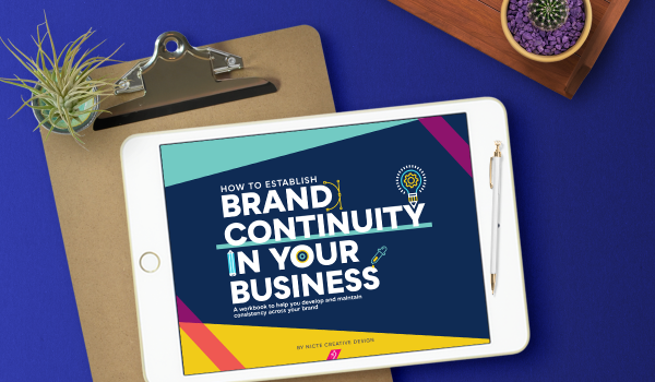 iPad and clipboard with images from Brand Continuity Workbook, brand continuity templates