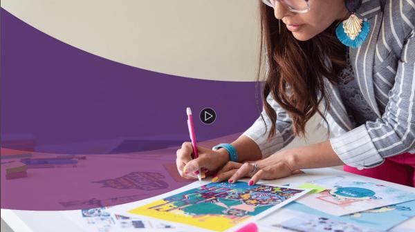 Nicte Cuevas working on her design at LinkedIn