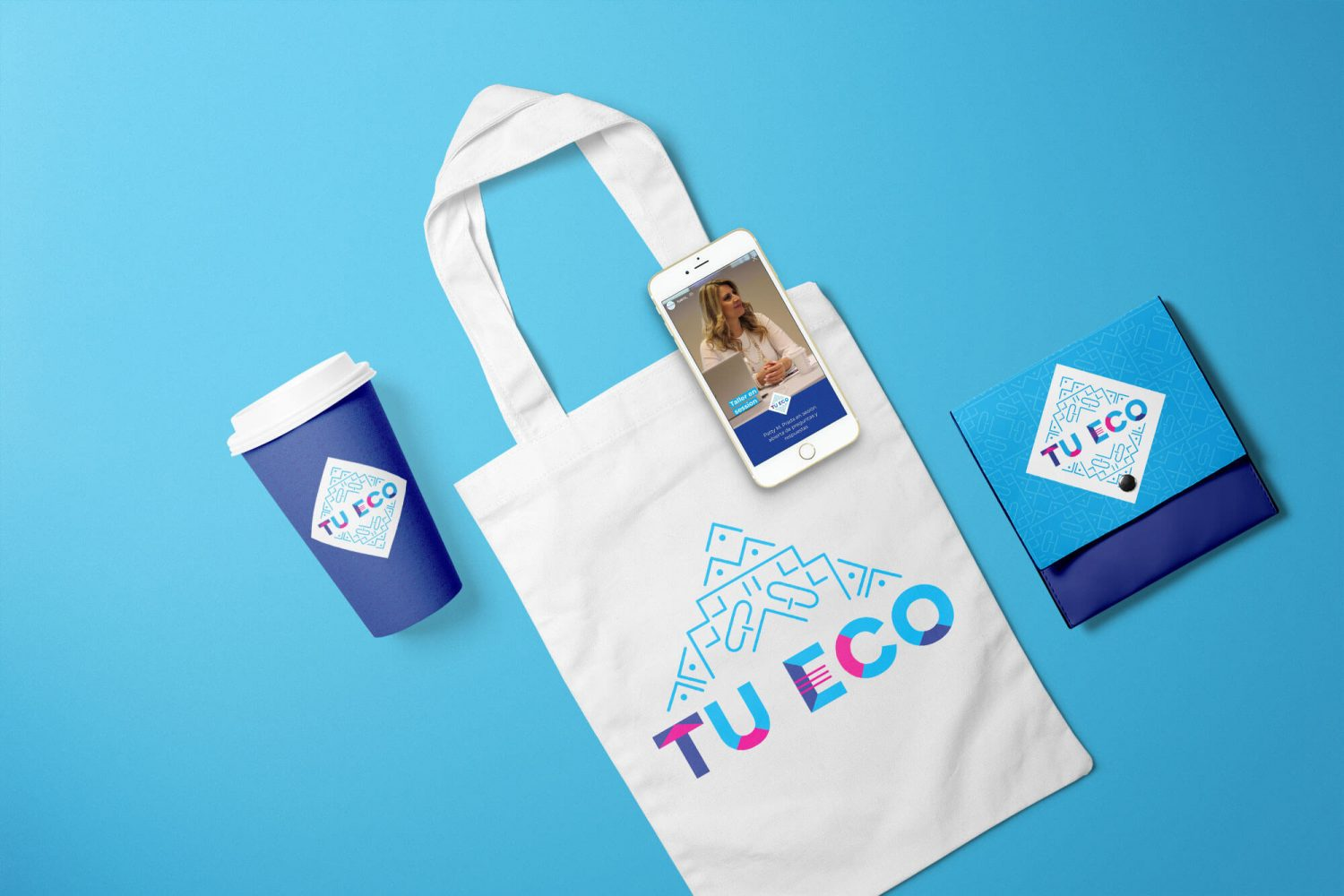 Tu Eco brand identity design with tote bag