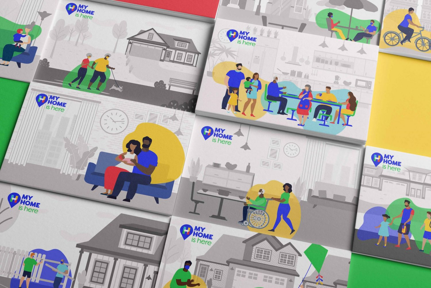 My Home is Here Branding and illustrations Ad By Nicte Creative Design