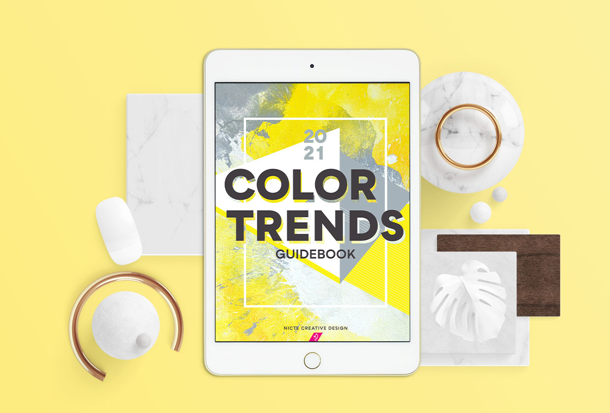 The cover of the Nicte Creative Design Color Trends Guidebook. This image showcases yellow and grey hues to align with the 2021 color of the year.